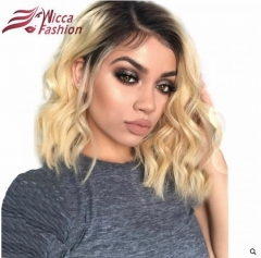 Wiccawigs Customized #1B/613 Short Wave  Human Hair Lace Frontal Wigs with Baby Hair Pre Plucked Hairline
