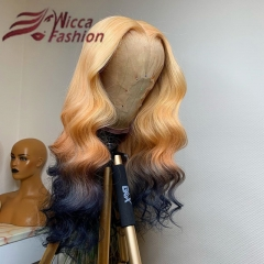 Wiccawigs Customized Ombre Brazilian Wave Glueless Lace Wigs With Baby Hair Pre Plucked Hairline