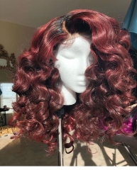 Wiccawigs Customized Brazilian Wave 1B/Burgundy Short Bob Remy Human Hair Glueless Lace Wigs With Baby Hair Pre Plucked Hairline
