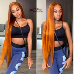 Wiccawigs Customized Light Orange Color Peruvian Virgin Human Hair Lace Front Wigs With Baby Hair