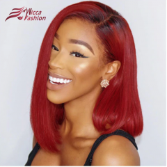 Wiccawigs Customized Ombre Red Short Bob Lace Wigs  With Baby Hair Full Lace Wigs Pre Plucked Hairline