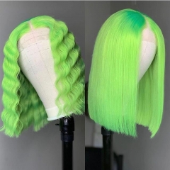 Wiccawigs Customized Green Color Short Bob Wigs Brazilian Remy Hair With Baby Hair Full Lace Wigs Pre Plucked Hairline