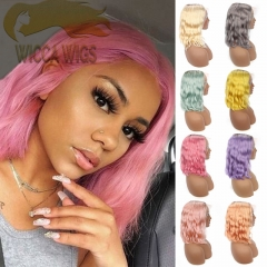 Wiccawigs Customized Color Short Bob Wigs 150% Density Brazilian Remy Hair With Baby Hair Full Lace Wigs Pre Plucked Hairline