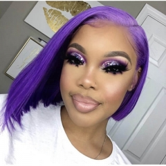 Wiccawigs Customized Purple Color Short Bob Human Virgin Hair Lace Front Wigs with Baby Hair Pre Plucked Hairline