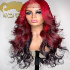 Full Lace Ombre Red Body Wave Human Virgin Hair Wiccawigs Customized Wigs with Baby Hair Pre Plucked Hairline