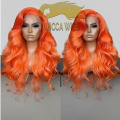 Full Lace Orange Body Wave Human Virgin Hair Wiccawigs Customized Wigs with Baby Hair Pre Plucked Hairline