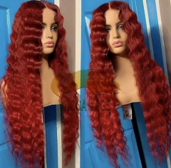 Lace Front Red Deep Loose Wave Human Virgin Hair Wiccawigs Customized Wigs with Baby Hair Pre Plucked Hairline