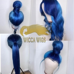 Full Lace Blue Straight&Wave Human Virgin Hair Wiccawigs Customized Wigs with Baby Hair Pre Plucked Hairline