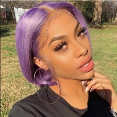 Light Purple Lace Front Short Bob Human Virgin Hair Wiccawigs Customized Wigs with Baby Hair Pre Plucked Hairline