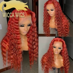 Lace Front Red Deep Loose Wave Human Hair Wiccawigs Customized Wigs with Baby Hair Pre Plucked Hairline